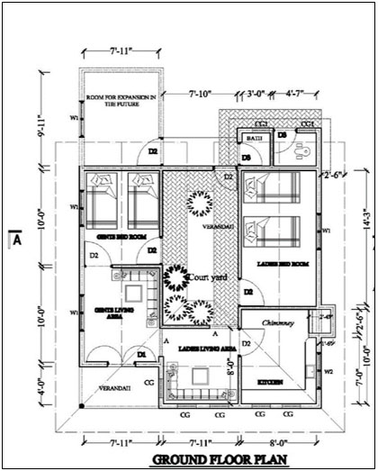 Floor plan of the house with the central courtyard