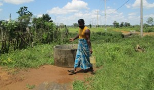 A small dug well used by the Weligahakandiya community to collect fresh water.