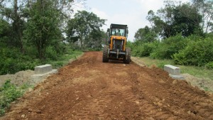 Road rehabilitation work in progress in Karaveddy village.
