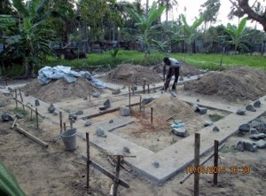 Thajeekaran engaged in foundation work.