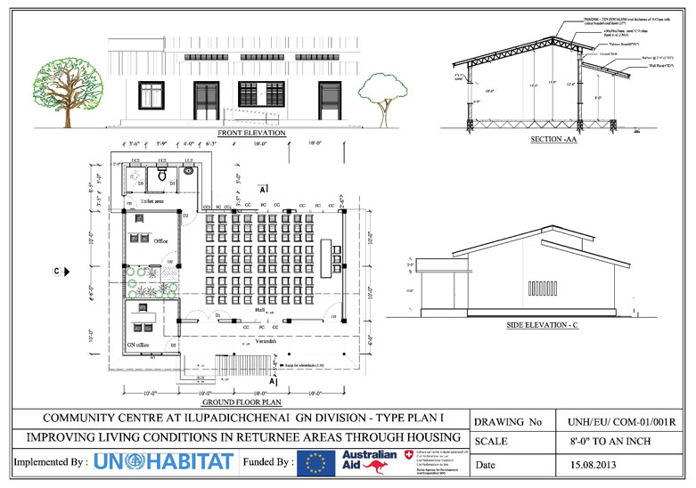 Design type plan of the community center
