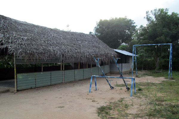 The temporary structure that housed the Village preschool  before.
