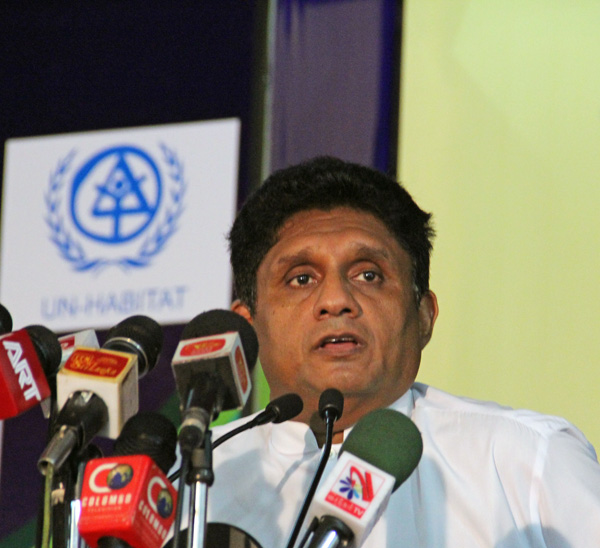 Honorable Minister of Housing and Construction, Mr. Sajith Premadasa, addresses the gathering.