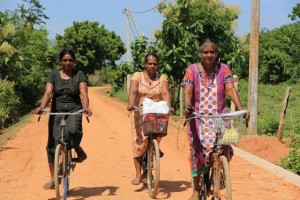 The WRDS members cycling along the repaired road.